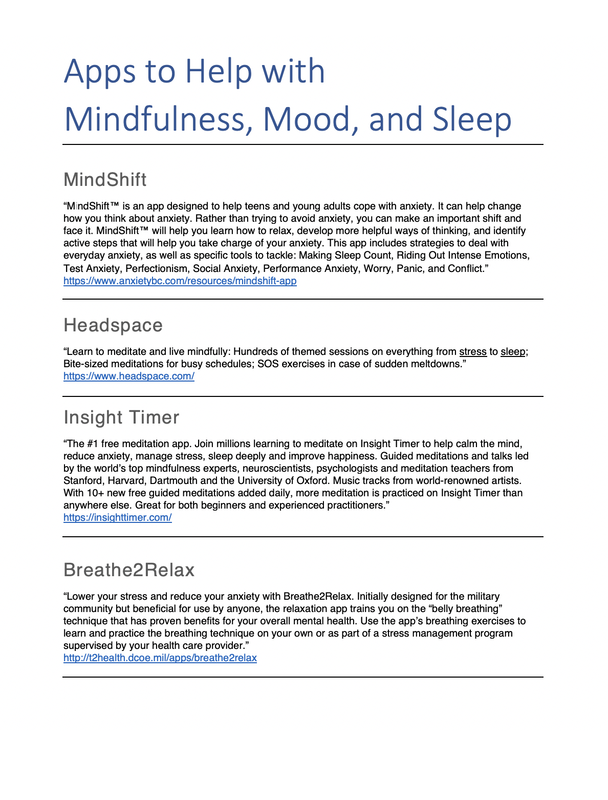 Apps to help with Mindfulness, Mood & Sleep